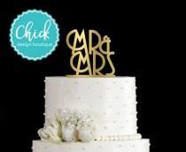 wedding photo - Mr & Mrs Art Deco Wedding Cake Topper Hand Painted in Metallic Paint