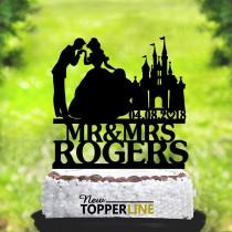 wedding photo - Wedding cake topper,Cinderella and Prince Charming Cake Topper,Custom Wedding Cake Topper,Cinderella Cake Topper,Mr and Mrs topper (2148)