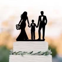 wedding photo - unique Wedding Cake topper with boy, bride and groom with son wedding cake toppers, wedding cake toppers with child silhouette