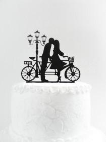 wedding photo - Wedding cake topper silhouette, Family cake topper, Bride and Groom cake topper