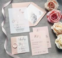 wedding photo - Pearl - Foil Vellum Wedding Invitations & Save the date or change the date. Blush pink foil wedding invites on Vellum or card.