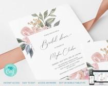wedding photo - Blush Pink Floral Bridal Shower Invitation Card Printable Template, Wedding Bride Shower Printable Template Instant Download Corjl : IDB025W