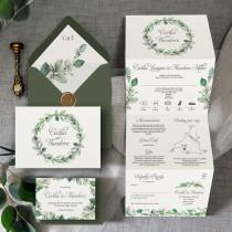 wedding photo - Cecilia - Luxury Trifold Wedding Invitations & Save the Date or Change the date. Rustic greenery wreath/hoop greenery wedding invites