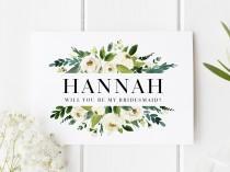 wedding photo - Personalised Bridesmaid Card, Will You Be My Bridesmaid Card, Classic Bridesmaid Proposal, Bridesmaid Proposal Card, Floral Bridesmaid Card