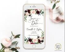 wedding photo - Save the Date Burgundy Floral Template, Electronic Smartphone Digital Editable Invitation Rustic Invitation, IPhone SMS TEMPLETT BW309