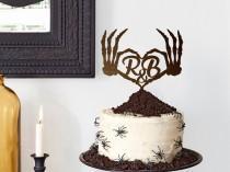 wedding photo - Halloween Wedding Cake Topper Skull Cake Topper Personalized Wood Cake Topper Skeleton Wedding Cake Topper Goth Cake Topper Halloween Cake