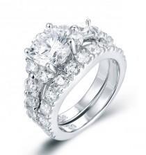 wedding photo - 925 Sterling Silver Diamond Simulant CZ Engagement Ring Wedding Band Bridal Wedding Rings Set For Half Sizes Women Size 2.5-15 SS763