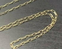 "wedding photo - Solid 14K Yellow Gold 1.6x3.7mm Paper Clip Link Chain Necklace 18""  16"" 15""  Paperclip"