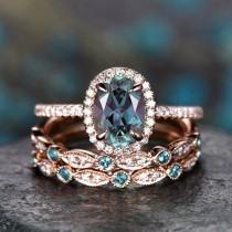 wedding photo - 3pcs halo diamond ring oval cut Alexandrite engagement ring rose gold color change Alexandrite wedding band vintage women bridal ring set