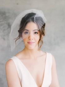 wedding photo - Blusher Veil, Short Veil, Wedding Veil, Birdcage Veil, Tulle Veil, Tulle Headpiece, Wedding Headpiece, Bridal Headpiece- Style 200- Analise