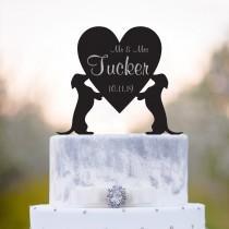 wedding photo - Dachshund cake topper,surname cake topper,mr n mrs cake topper,Wedding cake topper with dog,Dog cake topper,cake topper date,Dachshund,a86