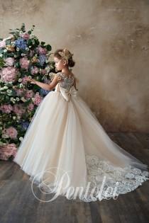 wedding photo - First Communion Dress, White flower girl dress, Baptism Dress,Baby toddler lace dress,flower girls dresses,flower girl dress