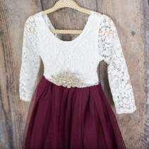 wedding photo - White Lace Flower Girl Dress, Burgundy Tulle Long Sleeve Wedding Gown, Floor Length Wine Dress