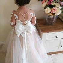 wedding photo - White flower girl dress, Rustic Lace Flower Girl Dress,Baby toddler lace dress, white tulle tutu dress,flower girls dresses, birthday, party