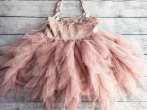 wedding photo - 1er birthday. Dress, Mauve /pink flower girl dress,  Feathers top,Baby  toddler dress, flower girls dresses