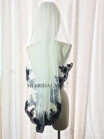 wedding photo - Black Veil, Black Bridal Veil, Lace Wedding Veil, Wedding Veil Lace at Chest, Hip Length Veil, Custom Veil, Mi Bridal Veil