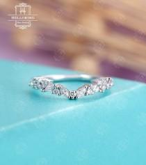 wedding photo - Diamond/moissanite Wedding band, white gold women, marquise cut, vintage band,Matching Stacking  Promise Simple Jewelry Anniversary gifts