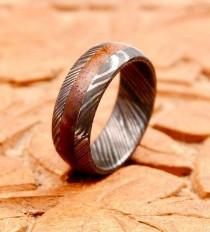 wedding photo - Damascus Steel Ring Band Walnut Wood Liner Handmade Custom Width Damascus Ring Men Wedding Ring Men Engagement Ring Men Wedding Band