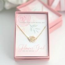 wedding photo - Flower Girl Rose Necklace -  CUSTOM Name Thank You for Being My Flower Girl Gift Gold Silver Rose Gold Plated - Boxed Necklace - J-NE07G