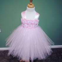 wedding photo - Pink Flower Girl Tutu Dress/Pink Flower Girl Dress/Pink Tutu Dress/Toddler Tutu Dress/Birthday Tutu Dress/Princess Tutu Dress