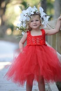 wedding photo - Red Flower Girl Dress/Red Tutu Dress/Red Toddler Tutu Dress/Red Princess Tutu Dress/Red Birthday Tutu Dress/Red Long Tutu Dress