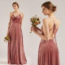 wedding photo - Bridesmaid Dress Dusty Rose Velvet Dress for Women Cowl Neck Long Dress Halter Criss Cross Strap Fitted A-line Lace Wedding Dress (RV002)