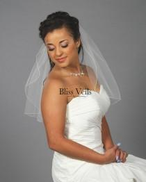 wedding photo - One Layer Shoulder Length Wedding Veil -  Pencil Edge - 10 Sizes & Colors! Fast Shipping!