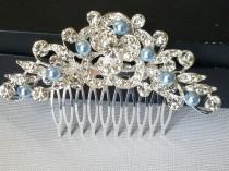 wedding photo - Crystal Bridal Hair Comb, Wedding Blue Pearl Crystal Hair Piece, Light Blue Pearl Headpiece, Bridal Hair Jewelry, Crystal Silver Floral Comb