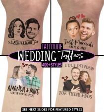 wedding photo - PHOTO TEMPORARY TATTOO, Custom Face Tattoo, Photo Temporary Tattoo, Couple Tattoo, Bride Tattoo, Wedding Favors, Face Tattoo, Wedding Tattoo