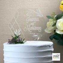 wedding photo - Springtime Garden Cake Topper Engraved,  Geometric Acrylic Custom Cake Topper for Weddings, Anniversary Cake Topper