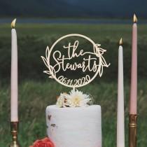 wedding photo - Rustic wedding cake topper, Custom Mr and Mrs cake topper, Garden wedding cake topper, Boho wedding cake topper, Wooden cake topper