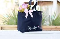 wedding photo - Bridesmaid tote bag, bridal party totes, wedding gift, bridesmaid gift, wedding tote, personalized tote, bridesmaid proposal, monogram tote