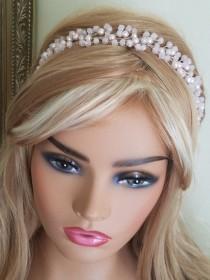 wedding photo - Blush Pink Crystal Hair Vine, Wedding Light Pink Headpiece, Bridal Pink Crystal Pearl Hairpiece, Pink Bridal Wreath, Pink Hair Jewelry