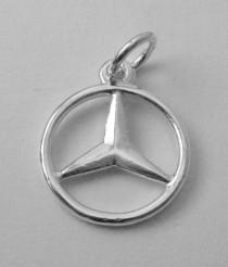 wedding photo - 15 mm Genuine SOLID 925 STERLING SILVER 3D Mercedes Benz Sign Logo Car charm/pendant