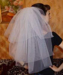 wedding photo - Bachelorette party Veil 3-tier white, long length. Bride veil, accessory, bachelorette veil