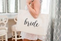 wedding photo - Bride Tote Bag Bridesmaid Maid of Honor Beach Bag Bachelorette
