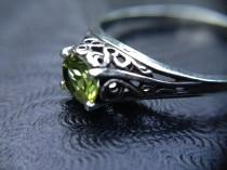 wedding photo - The Enchantment Goddess's Sterling Silver Genuine Healing Faceted Peridot Raised Filigree Heart Ring, AA-Grade Peridot, Heart Shaped Ring, 7