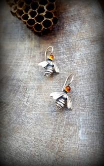 wedding photo - Citrine Earrings, Petite Silver Queen Bee Earrings, Cabochon set Bee Earrings, Small Bee Dangle Earring, Modern Citrine Silver Bee Earrings