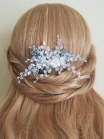 wedding photo - Dusty Blue Bridal Hair Comb, Blue Floral Hair Piece, Wedding Pastel Blue Crystal Hair Comb, Blue Silver Headpiece Wedding Blue Hair Jewelry