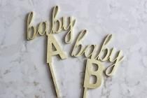 wedding photo - Baby A Baby B cake topper / gender reveal cake topper / baby shower cake topper / twin gender reveal  // baby sprinkle // twin baby shower