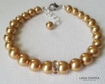 wedding photo - Bright Gold Pearl Bracelet, Swarovski Gold Pearl Bridal Bracelet, Wedding One Strand Pearl Bracelet, Bridal Jewelry, Golden Pearl Bracelet