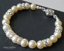 wedding photo - Pearl Bridal Bracelet, Swarovski Ivory Pearl Bracelet, Wedding Bracelet, Bridal Jewelry, Pearl Wedding Jewelry Ivory Silver Classic Bracelet