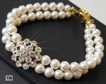 wedding photo - White Pearl Bridal Bracelet, Pearl Cuff Bracelet, Swarovski Pearl Gold Bracelet, Wedding Pearl Bracelet, Bridal Jewelry, Pearl Gold Bracelet