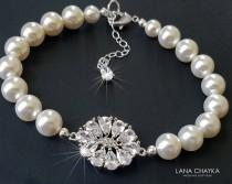 wedding photo - Pearl Bridal Bracelet, Swarovski White Pearl Cubic Zirconia Bracelet, Wedding Bracelet, Bridal Jewelry, Vintage Style, Bridal Party Gift