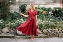 wedding photo - Lisbon dress, Bridesmaids dress, Wrap linen dress, Linen clothing, Romantic dress, Wide skirt dress, Long linen dress, Burgundy dress