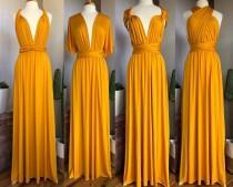 wedding photo - MUSTARD Bridesmaid Dress/ CUSTOM LENGTHS/ Convertible Dress /  Infinity Dress/ Multiway Dress/  Multi Wrap Dress /  Plus Size / Petite /