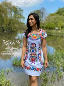 wedding photo - Mexican Colorful Embroidered Dress. Beautiful Traditional Dress. Handmade Mexican Dress. Coco Dress. Women's Mexican Formal Dress.