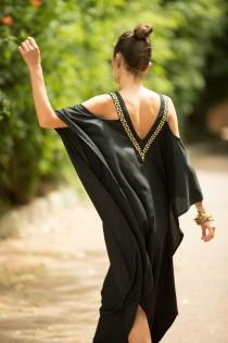 "wedding photo - Black and Gold Kaftan Hippie Evening Dress, Oversize Open Back Cold Shoulder Embroidered Long ""Michelle"" Dress"