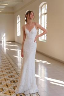 wedding photo - White Bride Dress, Bohemian Wedding Dress, V Neck Bride Dress, Wedding Gown, Unique Wedding Dress, Bridal Dress, Beaded Lace Wedding Dress