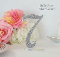 wedding photo - Acrylic Table Numbers for Weddings, Parties, Company Events, Centerpieces for Birthdays & Anniversaries, Glitter and Pearl Colors [ATN10]